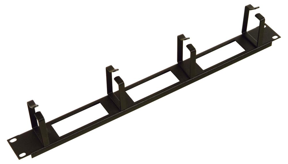 """ГКО-О-4.62-9005 Горизонтальный кабельный органайзер с окнами 19"""" 1U, 4 кольца, черный, [ ГКО-О-4.62-9005 ]"""