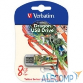 049884 Verbatim USB Drive 8Gb Mini Tattoo Edition Dragon 049884 USB2.0