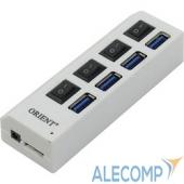 BC-307PS ORIENT BC-307PS, USB 3.0 HUB 4 Ports, c БП-зарядником 2xUSB (5В, 2.1А), выключатели на каждый порт, белый