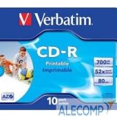 43325 Verbatim Диски CD-R Printable Surface, 700Mb 80 min 52-x (Jewel Case, 10шт.) 43325