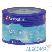 43728 Verbatim Диски CD-R 50шт. 52x 700Mb, Shrink (43728)