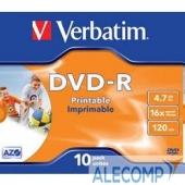 43521-1 Verbatim Диски DVD-R Verbatim 16-x, 4.7 Gb, Printable (Jewel Case, 10шт.) ( 43521)