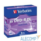 43541 43541 Диски DVD+R Verbatim 8x, 8.5Gb/240min Double Layer (Jewel Case, 5шт.)