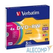 43297 Verbatim Диски DVD+RW 4х, 4.7Gb (COLOUR, Slim Case, 5 шт.) (43297)
