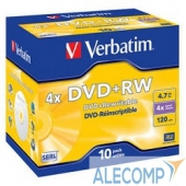 43246 Verbatim Диск DVD+RW 4.7Gb 4x Jewel Case (10шт) (43246)