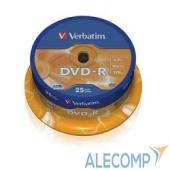 43522 Verbatim Диски DVD-R  4.7Gb 16-х, 25шт, Cake Box (43522)