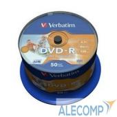 43533 Verbatim Диски DVD-R 4.7Gb 16х, Wide Photo InkJet Printable, 50шт, Cake Box (43533/43649)