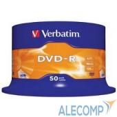 43548 Verbatim Диски DVD-R 4.7Gb 16-х, 50шт, Cake Box (43548)