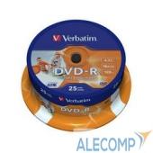 43538 Verbatim  Диск DVD-R 4,7Gb 16x Cake Box Printable (25шт) (43538)