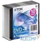 t19420 TDK Диск DVD-R 4.7Gb 16x SJC (10шт) & 10C , DVD-R47SCED10-L,(t19420)