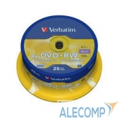 43489 Verbatim Диски DVD+RW , 4.7Gb 4-х , 25шт, Cake Box (43489)