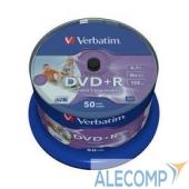43512 Verbatim Диски DVD+R 4.7Gb 16-х, Wide Photo InkJet Printable, 50 шт, Cake Box (43512 )