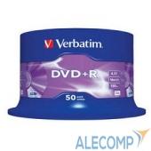 43550 Verbatim Диски DVD+R 4.7Gb 16-х , 50 шт, Cake Box (43550)