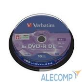 43666 Verbatim Диски DVD+R , 8x, 8.5Gb Double Layer, 10шт, Cake Box (43666)