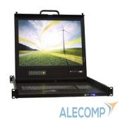 UNIUS19 ProCase UNIUS 19/E/RU Консоль модульная однорельсовая 19'', single rail console, LCD D-Sub, PS/2 и USB, разрешение 1280*1024, USB hub, возможность уст