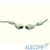 CC-PPVGA-10m Gembird/Cablexpert CC-PPVGA-10m, Кабель VGA Premium , 15M/15M, 10м, серый, тройной экран, феррит.кольца