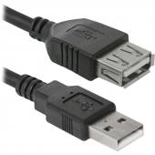 USB02-10 Кабель удлинительный USB 2.0 (AM) -> USB2.0 (AF), 3.0m, Defender USB02-10 (87453)
