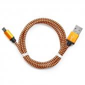 CC-mUSB2oe1m Кабель USB 2.0 (AM) - Micro USB (BM), 1.0m, Gembird (CC-mUSB2oe1m), нейлоновая оплетка, алюминиевые разъемы, оранжевый