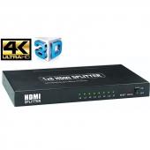 HSP0108H-2.0 Разветвитель HDMI 1-8 Orient HSP0108H-2.0, HDMI 2.0/3D, UHDTV 4K/ 60Hz (3840x2160)/HDTV1080p, HDCP2.2, EDID управление, RS232 порт, IR вход, внешний БП 5В/3А, метал.корпус