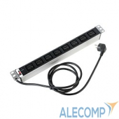 """R-16-8C19-I-440-3 ЦМО Блок розеток Rem-16 с инд., 8 IEC 60320 C19, 16A, алюм., 19"""", шнур 3 м. (R-16-8C19-I-440-3)"""