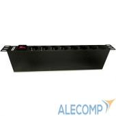 """SHE19-8SH-S-IEC Hyperline SHE19-8SH-S-IEC Блок розеток 19"""", 250В, 1U, 16А, 8 розеток Schuko, с выключателем, алюминиевый корпус, разъем IEC 60320 C14"""